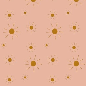 hand drawn sun - dusty blush