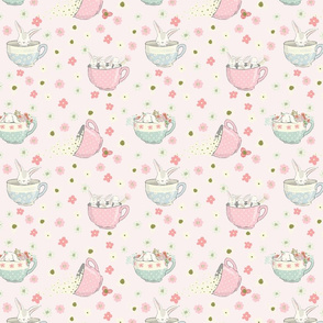"7"" Spring is all over - Little Bunnies and Cute Florals - baby girls fabric - spring animals flower fabric, baby fabric"
