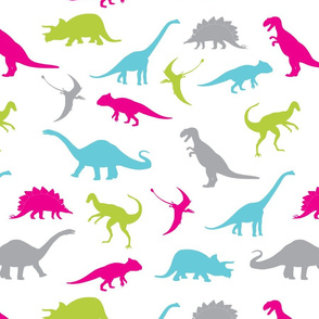 Dinosaurs   Hot Pink, Aqua Blue, Bright Chartreuse, Green, Grey   Dino Pattern for Girls and Boys   Kids