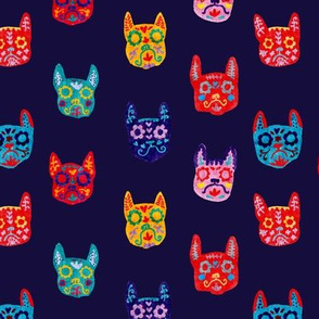 Day of the Dead - Frenchie - Sugar Skull - Navy