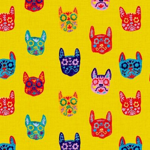 Day of the Dead - Frenchie - Sugar Skull - Yellow