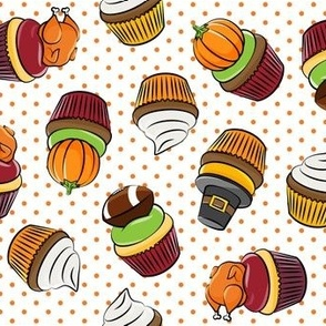 Thanksgiving cupcakes - orange polka dots - LAD19