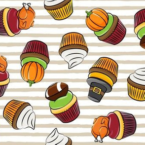 Thanksgiving cupcakes - beige stripes - LAD19