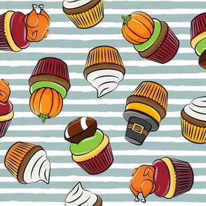 Thanksgiving cupcakes - dusty blue stripes - LAD19