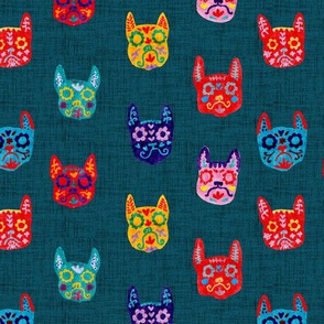 Day of the Dead - Frenchie - Sugar Skull - Dark Teal