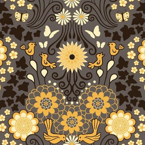 Decorative Garden Scene Taupe