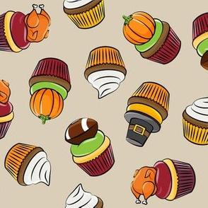 Thanksgiving cupcakes - tan - LAD19