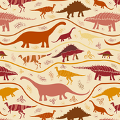 Dino Strata - reds on sand - (medium scale)
