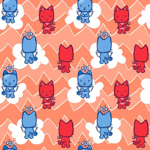 Little Angel...Little Devil Kitty Cat Cartoon Zig Zag Print- Papaya