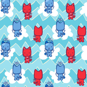 Little Angel...Little Devil Kitty Cat Cartoon Zig Zag Print- Aqua