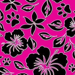 Paw Print Hawaiian Hibiscus - Fuchsia