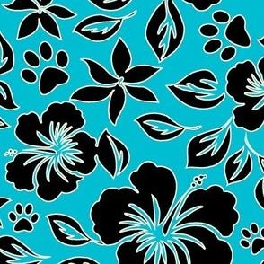 Paw Print Hawaiian Hibiscus - Turquoise blue