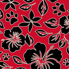 Paw Print Hawaiian Hibiscus - Red