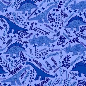 Dino Garden / dinosaurs leafs and flower blue