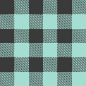 "Jumbo Buffalo Plaid (3"") Onyx + Mint"
