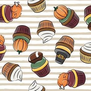 Thanksgiving cupcakes - tan stripes - LAD19