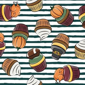 Thanksgiving cupcakes -  stripes - LAD19