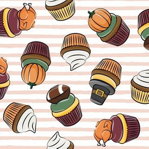 Thanksgiving cupcakes - blush stripes - LAD19