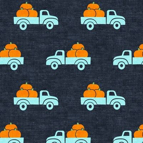 fall trucks - pumpkin - blue - LAD19