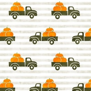 fall trucks - pumpkin - green on stripes - LAD19