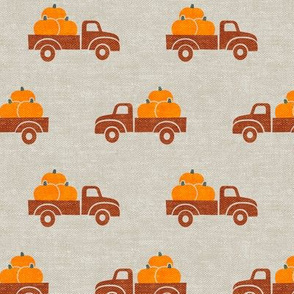 fall trucks - pumpkin - orange on tan - LAD19