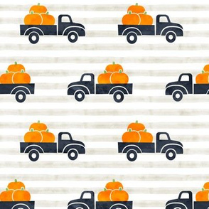fall trucks - pumpkin - blue on stripes - LAD19