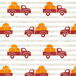 fall trucks - pumpkin - red on stripes - LAD19