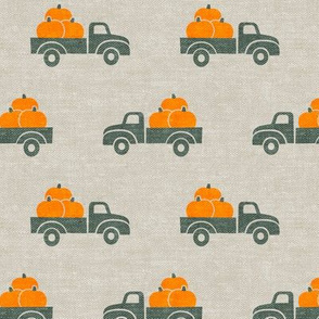 fall trucks - pumpkin - sage on tan - LAD19