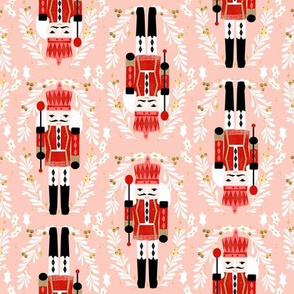 nutcracker fabric // pink and red nutcrackers holiday xmas christmas fabric christmas andrea lauren christmas fabric