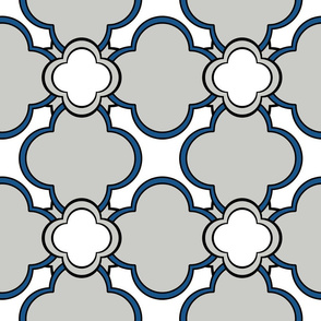 Morocco (Gray with Blue and White) 9inch Repeat, David Rose Designs