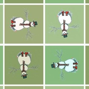 Snowman in Green Squares