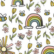 Rainbows, Sunshine, Butterflies, Bees, and Flowers