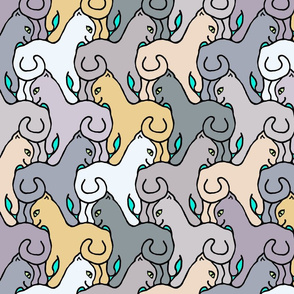 Happy Cats on Teal