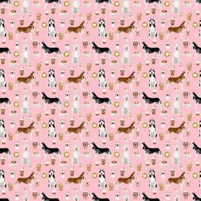 TINY - husky fabric siberian huskies and coffees fabric dogs design - pink