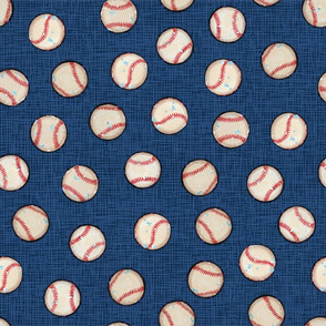 Baseball Balls on Blue Linen Look - Sandlot Sports Collection