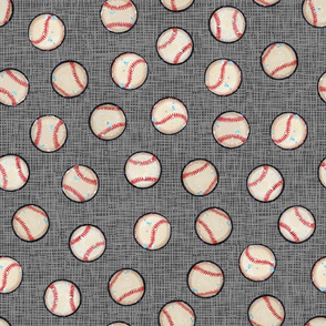 Baseball Balls on Gray Linen Look - Sandlot Sports Collection