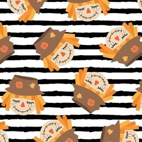 Cute Scarecrows - toss - black stripes - fall - LAD19