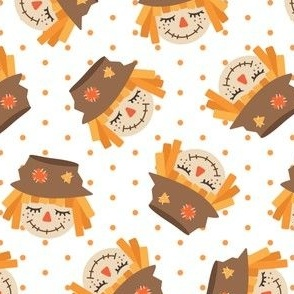 Cute Scarecrows - orange polka dots - fall - LAD19