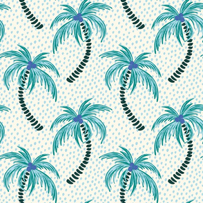 tropical palms - light blue dotted background