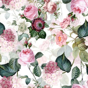 """10"""" Pierre-Joseph Redouté- Pierre-Joseph Redoute- Redouté fabric,Roses fabric-Redoute roses-- Victorian Moody Flowers Blush Roses, Lilacs and Hydrangea Bouquet - Redoute fabric, double layer on white"""