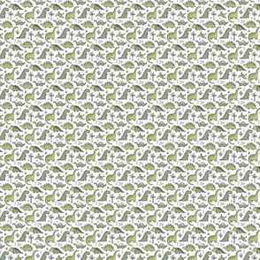 Dinosaurs in Green on White Tiny Small 0,5 inch