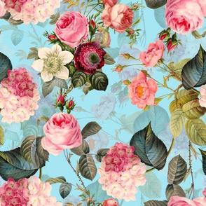 "10"" Pierre-Joseph Redouté Roses, Victorian Moody English Pink Blush Roses,blue"