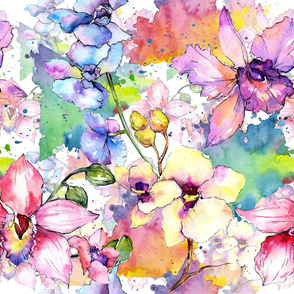 Watercolor orchid flower pattern
