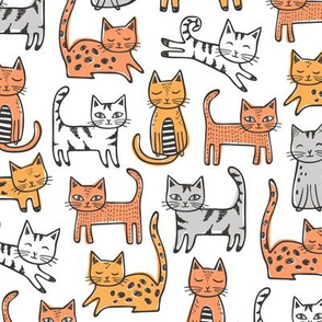 Cats with Stripes Orange on white