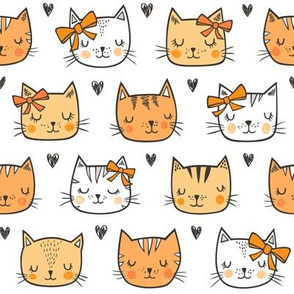 Orange Cat Cats  Faces with Bows and Hearts