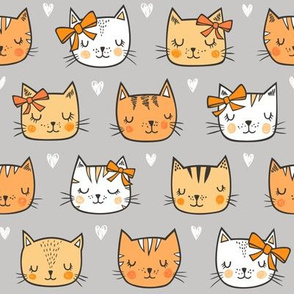 Orange Cat Cats  Faces with Bows and Hearts on Grey