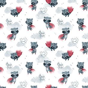 Raccoon Hero white SMALL