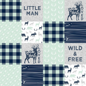 Little Man/Wild & Free/So deerly loved -  mint Plaid  C19BS