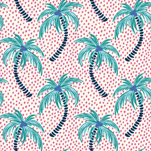 tropical palms - bright pink dotted background