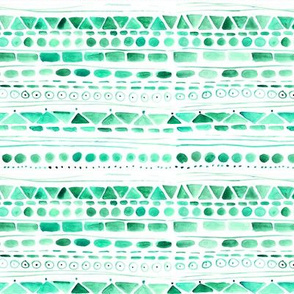 Emerald aztec • watercolor tribal pattern
